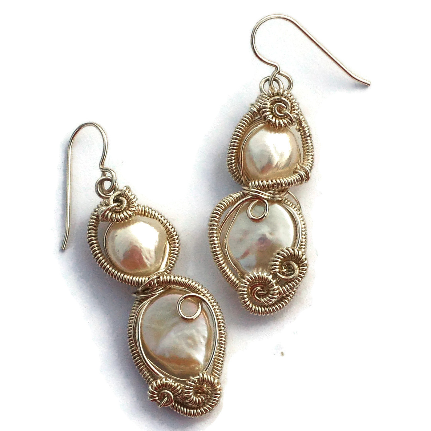 Large White Pearl Wire Wrap Statement Earrings