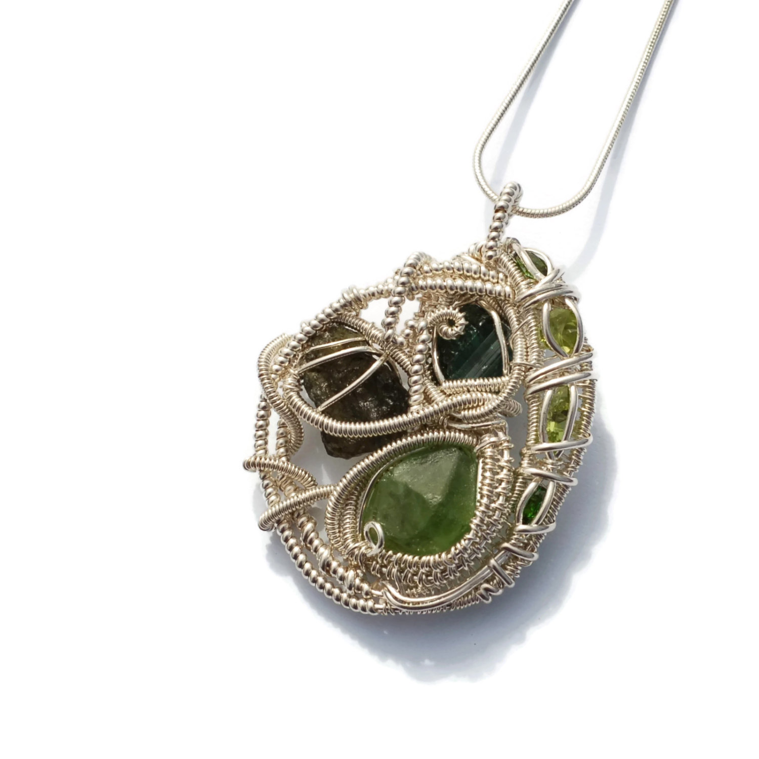 Peridot, Moldavite, Green Tourmaline, Chrome Diopside Gemstone Wire ...